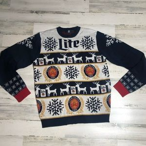 Miller Lite Christmas Sweater size Large
